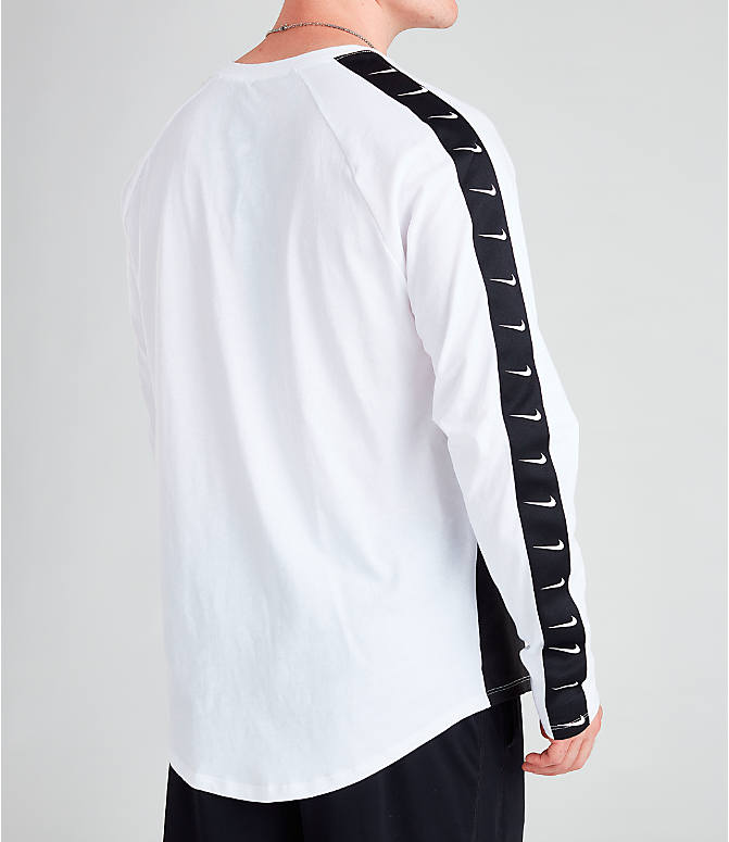Back Right view of Men's Nike Sportswear Swoosh Long-Sleeve T-Shirt in White/Black/Black