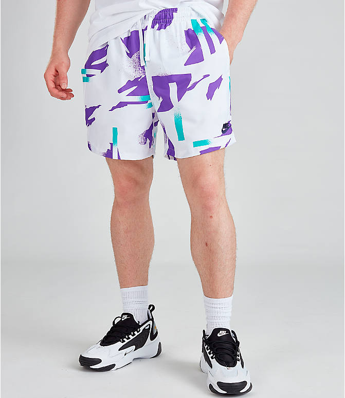 Front view of Men's Nike Sportswear Tennis Swim Shorts in White/Obsidian