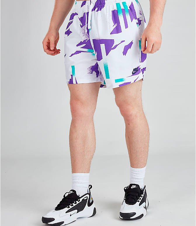 Front Three Quarter view of Men's Nike Sportswear Tennis Swim Shorts in White/Obsidian