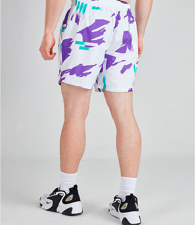 Back Left view of Men's Nike Sportswear Tennis Swim Shorts in White/Obsidian