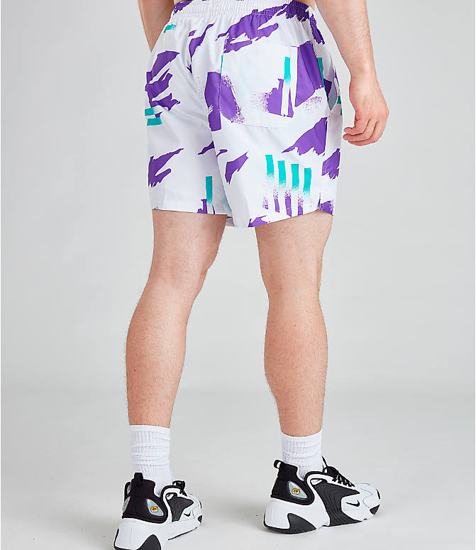 Back Right view of Men's Nike Sportswear Tennis Swim Shorts in White/Obsidian