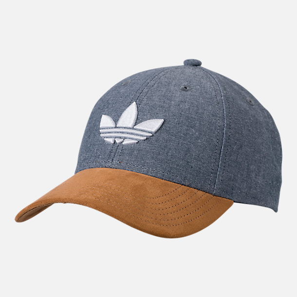 Front view of Men's adidas Originals Trefoil Plus Precurve Snapback Hat in Tan