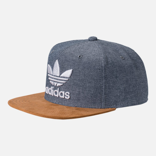 Front view of Men's adidas Originals Trefoil Plus Snapback Hat in Tan