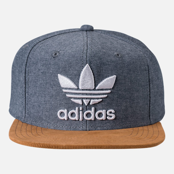Back view of Men's adidas Originals Trefoil Plus Snapback Hat in Tan