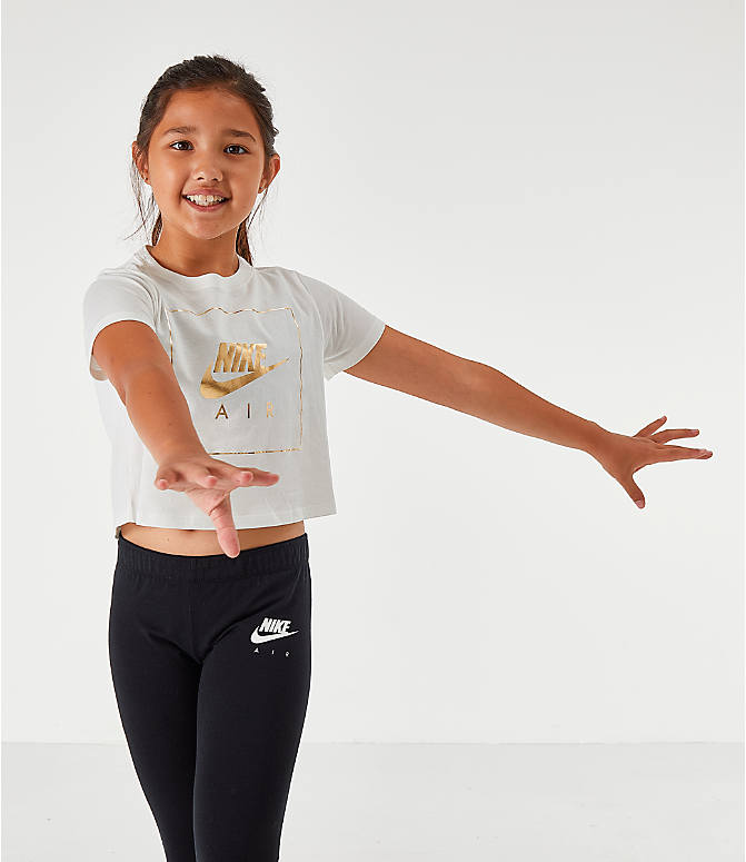 Front view of Girls' Nike Sportswear Air Crop T-Shirt in White/Gold