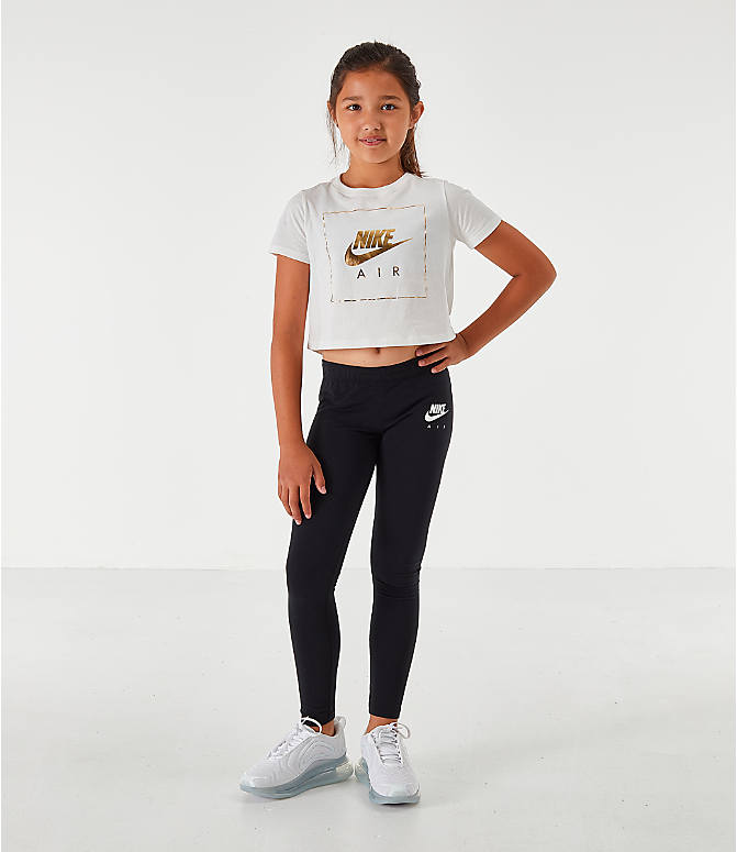 Front Three Quarter view of Girls' Nike Sportswear Air Crop T-Shirt in White/Gold