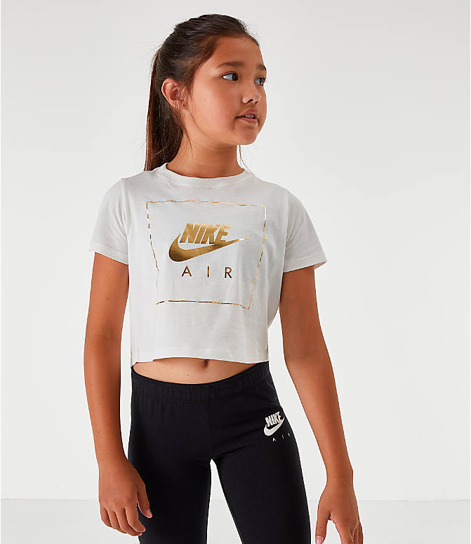 Back Left view of Girls' Nike Sportswear Air Crop T-Shirt in White/Gold