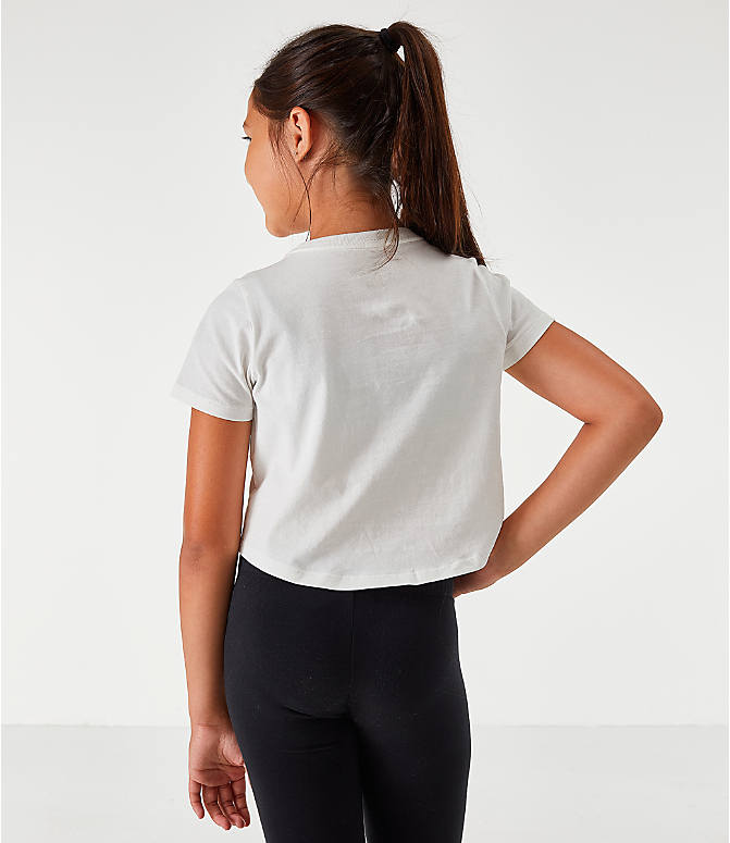 Back Right view of Girls' Nike Sportswear Air Crop T-Shirt in White/Gold
