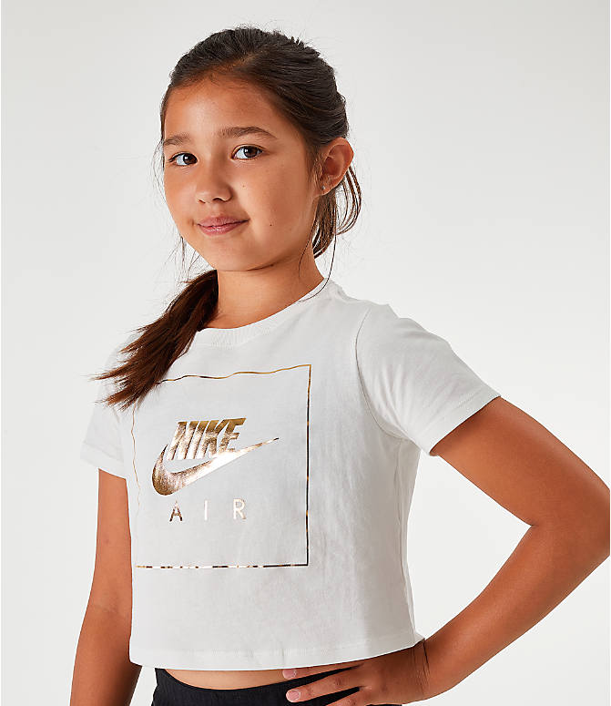 On Model 5 view of Girls' Nike Sportswear Air Crop T-Shirt in White/Gold