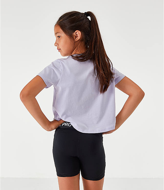 Back Right view of Girls' Nike Sportswear Air Crop T-Shirt in Lavendar Mist