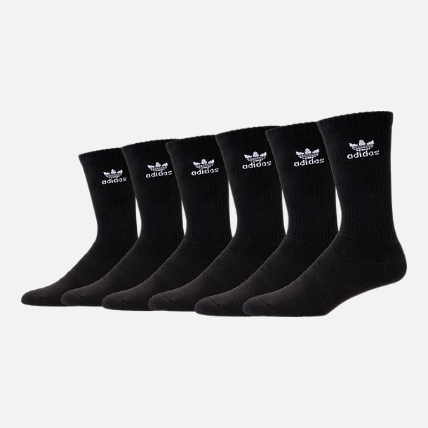 Front view of adidas Trefoil 6-Pack Cushioned Socks in Black/Black