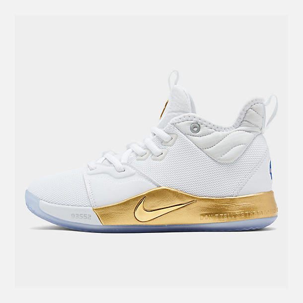 Right view of Boys' Big Kids' Nike PG 3 x NASA Basketball Shoes in White/Metallic Gold