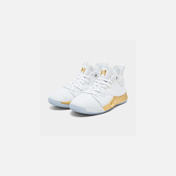 Three Quarter view of Boys' Big Kids' Nike PG 3 x NASA Basketball Shoes in White/Metallic Gold