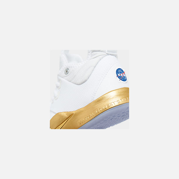 Front view of Boys' Big Kids' Nike PG 3 x NASA Basketball Shoes in White/Metallic Gold