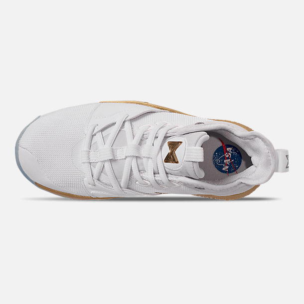 Top view of Boys' Big Kids' Nike PG 3 x NASA Basketball Shoes in White/Metallic Gold
