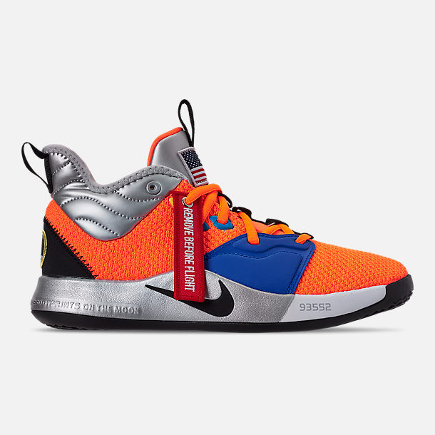 Right view of Boys' Big Kids' Nike PG 3 x NASA Basketball Shoes in Total Orange/Black/Metallic Silver