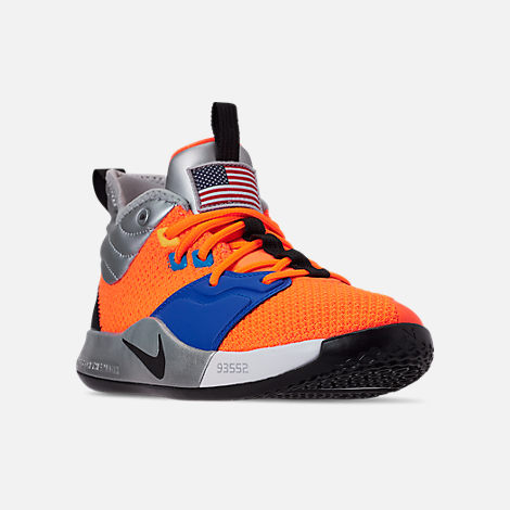 Three Quarter view of Boys' Big Kids' Nike PG 3 x NASA Basketball Shoes in Total Orange/Black/Metallic Silver