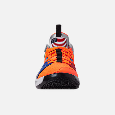 Front view of Boys' Big Kids' Nike PG 3 x NASA Basketball Shoes in Total Orange/Black/Metallic Silver
