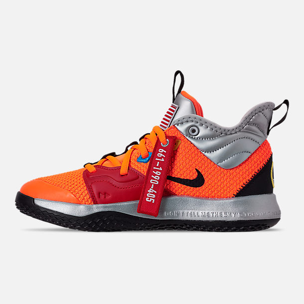 Left view of Boys' Big Kids' Nike PG 3 x NASA Basketball Shoes in Total Orange/Black/Metallic Silver
