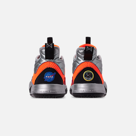 Back view of Boys' Big Kids' Nike PG 3 x NASA Basketball Shoes in Total Orange/Black/Metallic Silver