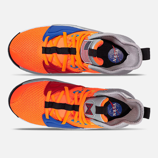 Top view of Boys' Big Kids' Nike PG 3 x NASA Basketball Shoes in Total Orange/Black/Metallic Silver