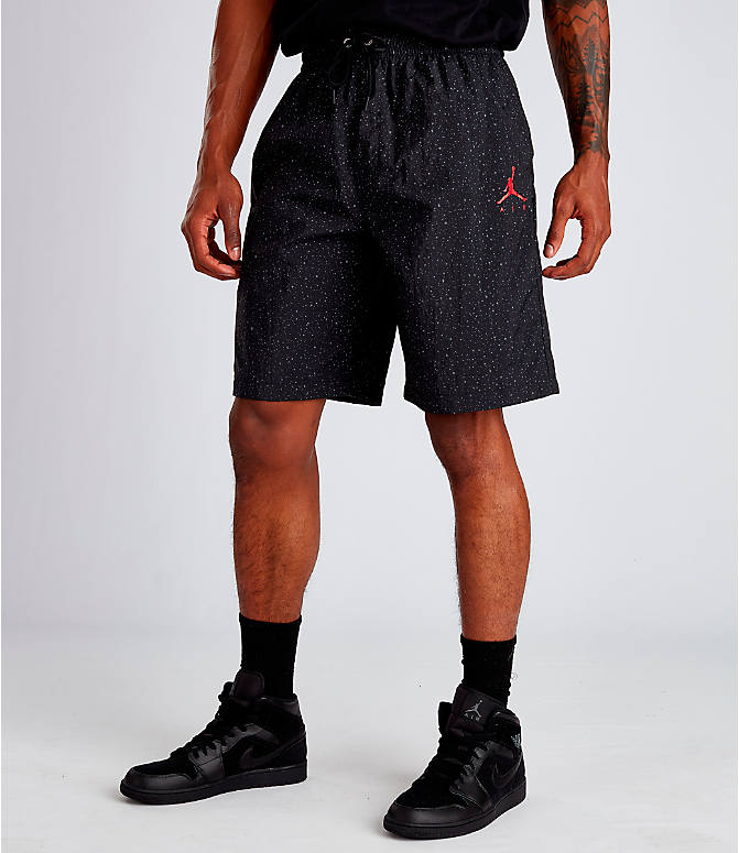 c8cc6b0fcd5f Front view of Men s Air Jordan Jumpman Cement Poolside Training Shorts in  Black Red
