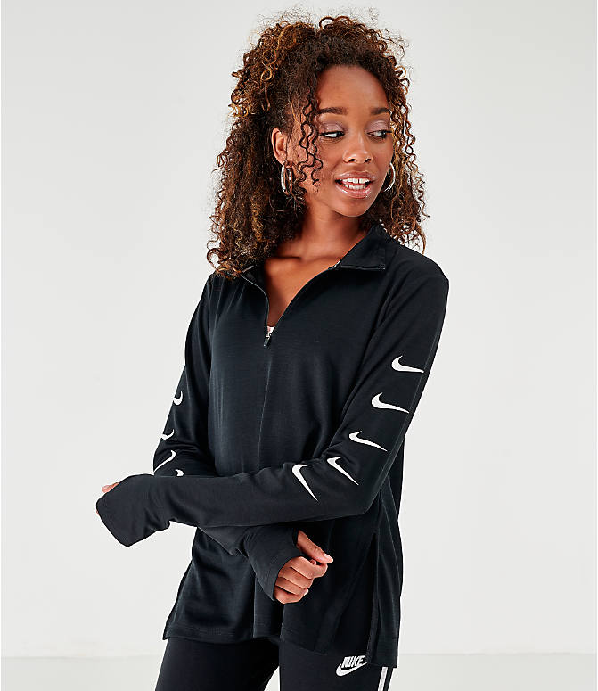 Front view of Women's Nike Repeating Swoosh Half-Zip Running Top in Black