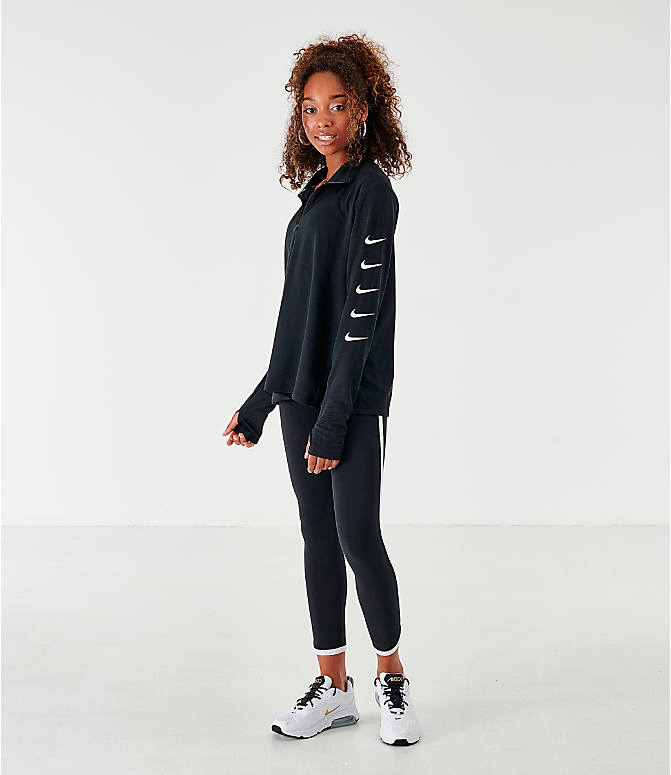 Front Three Quarter view of Women's Nike Repeating Swoosh Half-Zip Running Top in Black