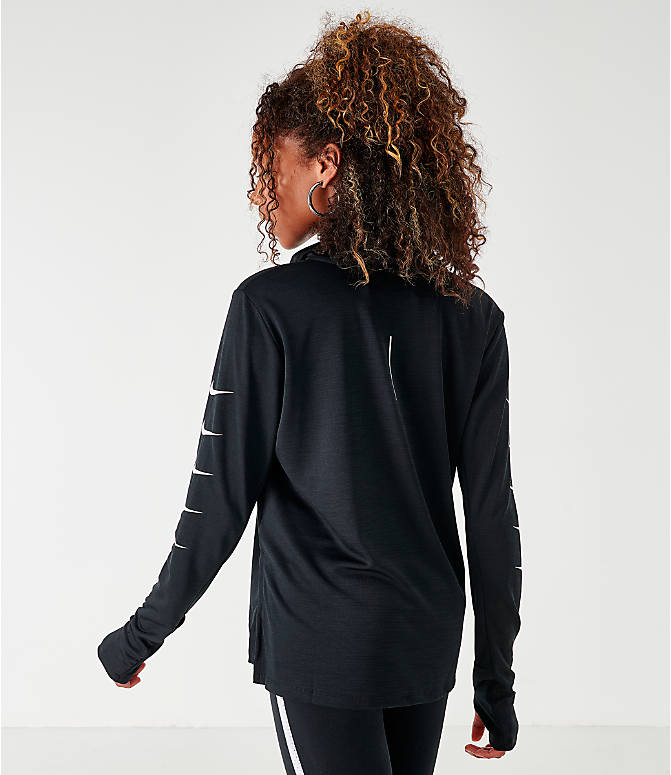 Back Left view of Women's Nike Repeating Swoosh Half-Zip Running Top in Black