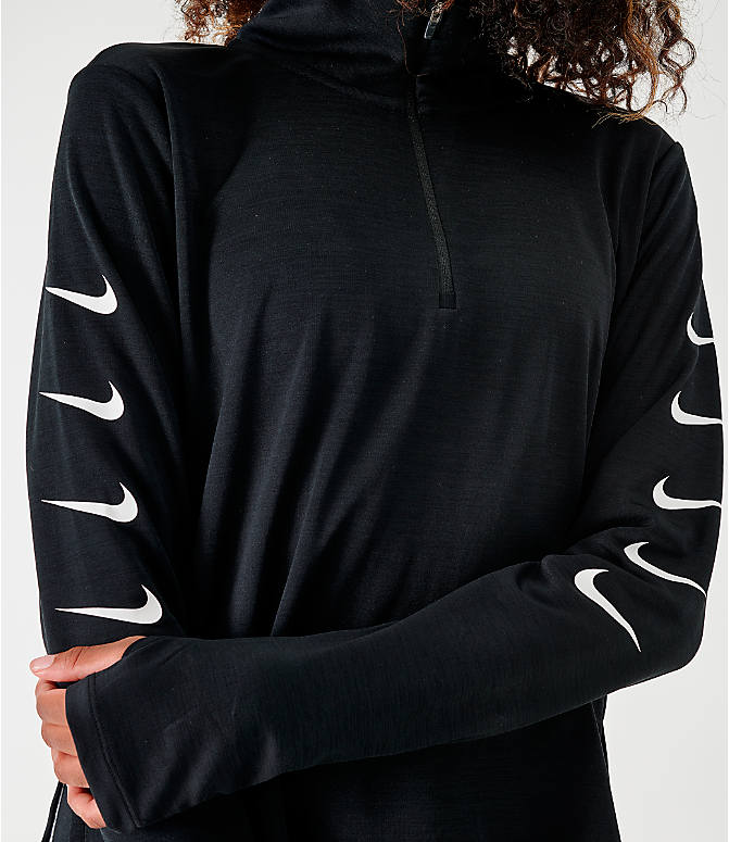 Back Right view of Women's Nike Repeating Swoosh Half-Zip Running Top in Black