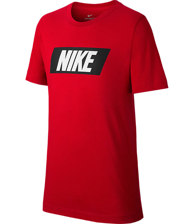 Front view of Boys' Nike Sportswear HBR T-Shirt in University Red/White