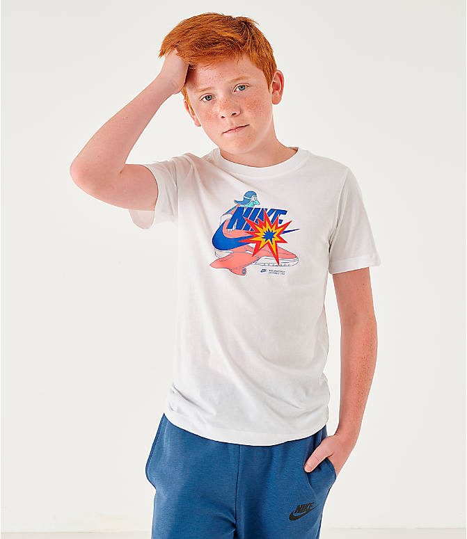 Front view of Kids' Nike Sportswear Distorted Icons T-Shirt in White/Game Royal
