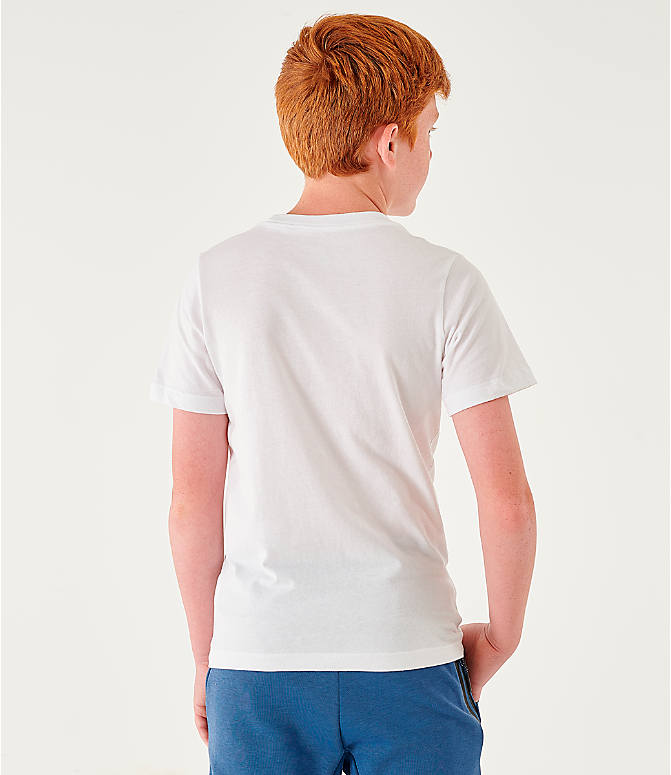 Back Left view of Kids' Nike Sportswear Distorted Icons T-Shirt in White/Game Royal