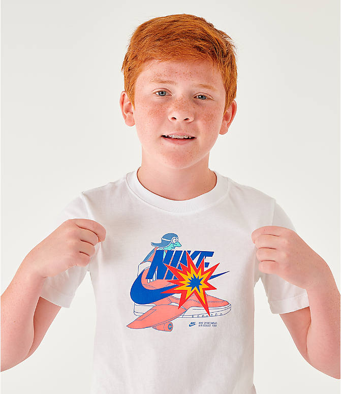 Back Right view of Kids' Nike Sportswear Distorted Icons T-Shirt in White/Game Royal