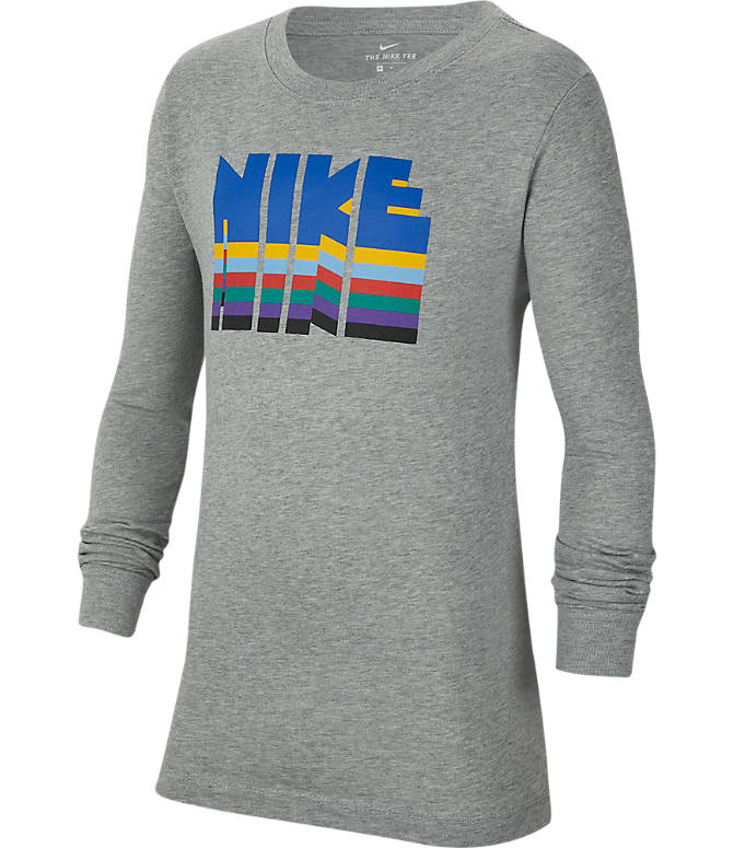 Front view of Boys' Nike Sportswear Graphic Long-Sleeve T-Shirt in Dark Grey Heather/Birch Royal