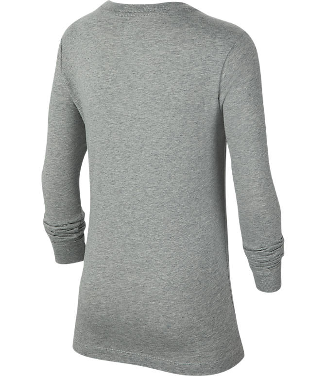 Back view of Boys' Nike Sportswear Graphic Long-Sleeve T-Shirt in Dark Grey Heather/Birch Royal
