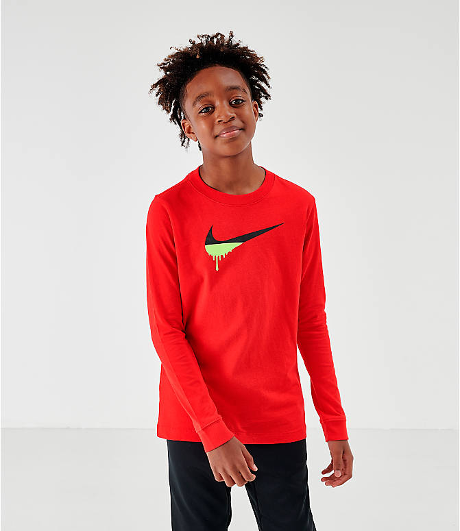 Front view of Kids' Nike Novelty Swoosh Long-Sleeve T-Shirt in Gym Red