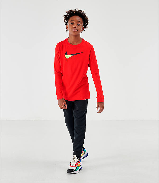 Front Three Quarter view of Kids' Nike Novelty Swoosh Long-Sleeve T-Shirt in Gym Red