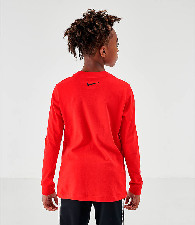 Back Left view of Kids' Nike Novelty Swoosh Long-Sleeve T-Shirt in Gym Red