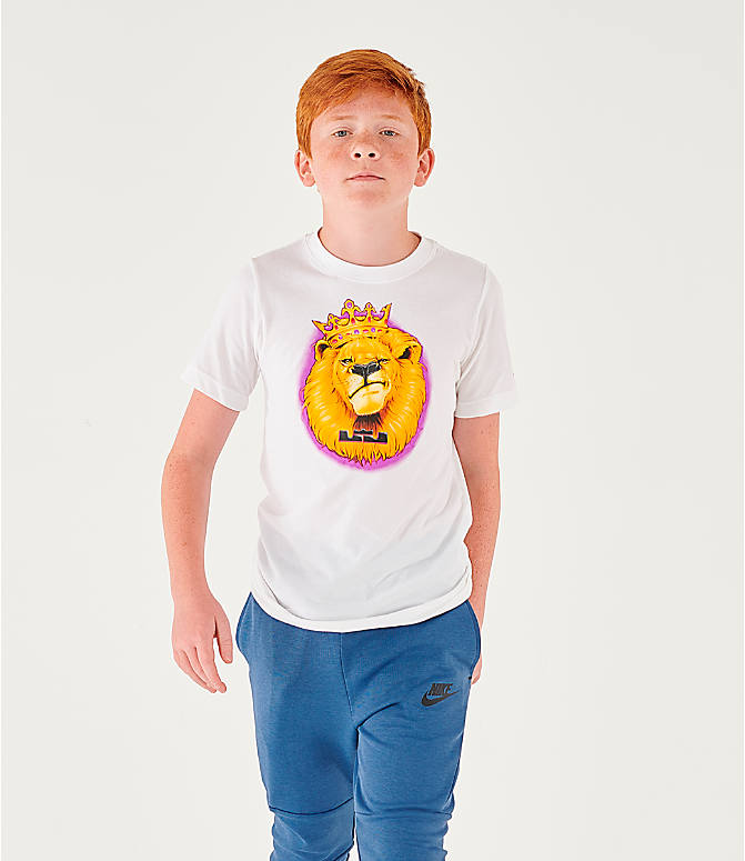 Front view of Boys' Nike Dri-FIT LeBron Lion Basketball T-Shirt in White