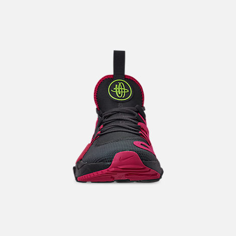 Front view of Men's Nike Huarache E.D.G.E. TXT Running Shoes in Anthracite/Volt/Black/Rush Pink
