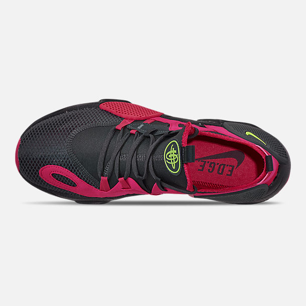 Top view of Men's Nike Huarache E.D.G.E. TXT Running Shoes in Anthracite/Volt/Black/Rush Pink