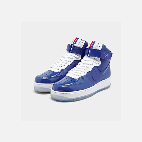 Three Quarter view of Men's Nike Air Force 1 High '07 LV8 Casual Shoes in Game Royal/Game Royal/White