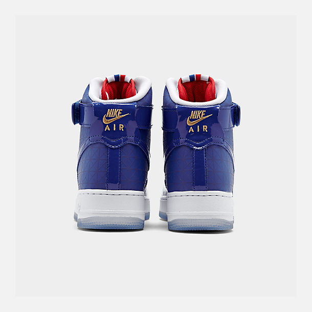 Left view of Men's Nike Air Force 1 High '07 LV8 Casual Shoes in Game Royal/Game Royal/White