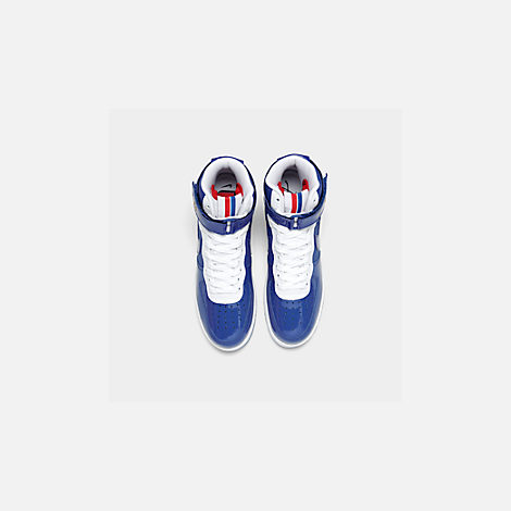 Back view of Men's Nike Air Force 1 High '07 LV8 Casual Shoes in Game Royal/Game Royal/White