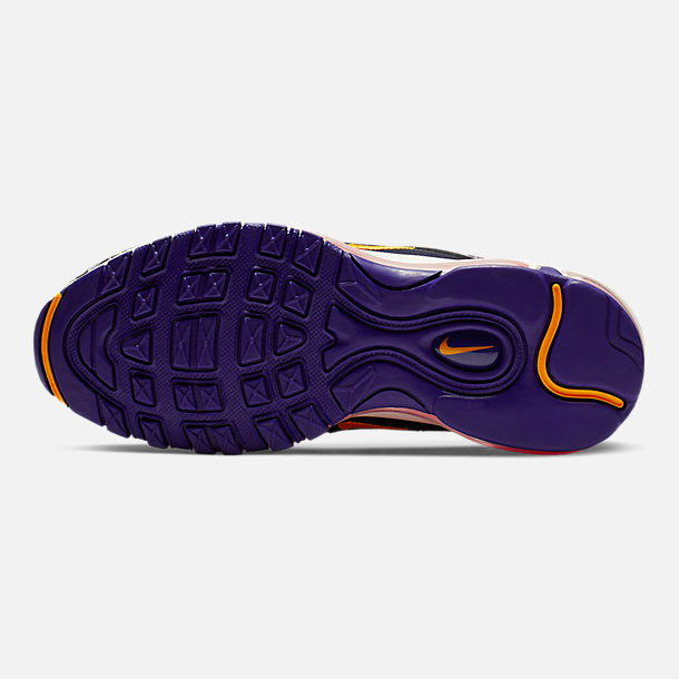 Bottom view of Girls' Big Kids' Nike Air Max 97 RF Casual Shoes in Regency Purple/Laser Orange/Racer P