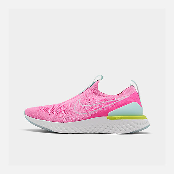 Right view of Women's Nike Epic Phantom React Flyknit Running Shoes in Psychic Pink/White/Laser Fuchsia