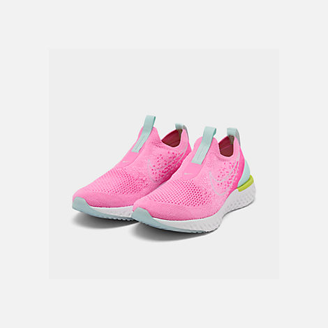 Three Quarter view of Women's Nike Epic Phantom React Flyknit Running Shoes in Psychic Pink/White/Laser Fuchsia