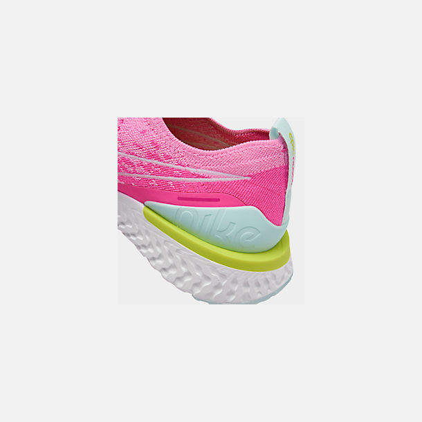 Front view of Women's Nike Epic Phantom React Flyknit Running Shoes in Psychic Pink/White/Laser Fuchsia