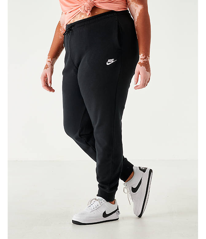 Front view of Women's Nike Sportswear Essential Jogger Pants - Plus Size in Black